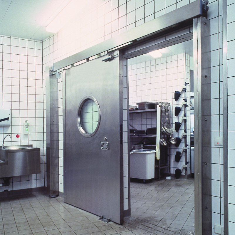 "Fire-resistant steel sliding door T90-1-FSA ""Teckentrup 72 E"" In Stainless Steel With Porthole Window"